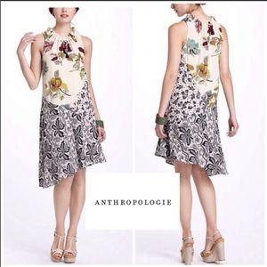 Anthro postmark floral silk asymmetrical dress